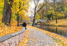 Late autumn in old public park, Riga, Latvia Royalty Free Stock Image