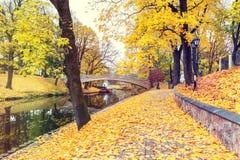Late autumn in old public park, Riga, Latvia Stock Photos