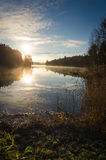 Late autumn sunrise over lake Royalty Free Stock Photos