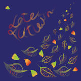 Late autumn.Vector composition with text on the leaves. Royalty Free Stock Photography