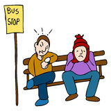 Late Bus. An image of a people waiting for a late bus royalty free illustration
