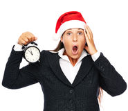 Late business christmas woman Stock Image