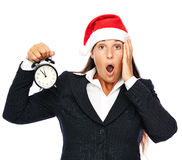 Late business christmas woman Stock Photography