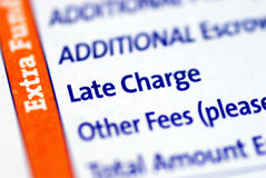 Late Charge item in a mortgage paymen Stock Photos