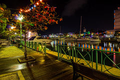 Free Late Christmas Evening At The Wharf In Brightly Lit Bridgetown, Barbados Stock Photos - 64447713
