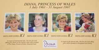 Late Diana,Princess of Wales commemorated. Late Diana,Princess of Wales commemorated in a special set of postage stamps released by Papua New Guinea Postal Royalty Free Stock Photos