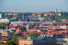 Late evening aerial view of Gothenburg city in summer. GOTHENBURG, SWEDEN - July 8, 2018 : Late evening aerial view of Gothenburg city in summer royalty free stock photo