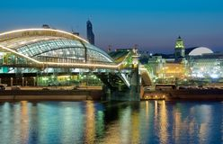 Late evening. Bogdan Khmelnitsky Bridge, view of the Kiev railway station in Moscow in the late evening Royalty Free Stock Photography