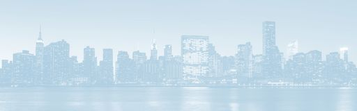 Late evening New York City skyline panorama stock photos