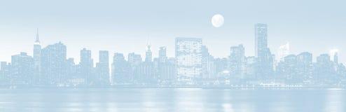 Late evening New York City skyline panorama stock photo