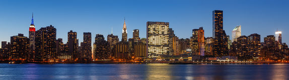 Late evening New York City skyline panorama Stock Photography