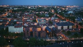 Late evening over the Old Town. Aerial view of Klaipeda city stock video