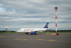 Late evening Small Planet at Vilnius airport Stock Images