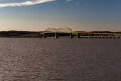 Lake Barkley Bridge - Lake Barkley, Kentucky. A late evening view of the historic two-lane Lake Barkley parker through truss bridge that carries US 68 and KY 80 stock photos