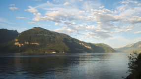 Late evening view over Lake Thun (Thunersee), Switzerland Stock Images