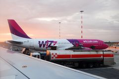 Late evening Wizzair at Rome Fiumicino airport Stock Photos