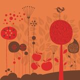 Late Fall. Illustration with stylized decorative elements Stock Photo
