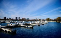 Empty Montrose Harbor. This is a late Fall picture of an empty iconic Montrose Harbor on Lake Michigan located in Chicago, Illinois in Cook County. This picture royalty free stock photo