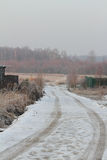 Late fall. The rural road the leader in the wood late fall royalty free stock photo