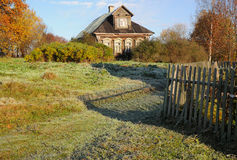 Late Fall In The Russian Village. Sunny morning in Russian village Tokarinovo after the first night frost Royalty Free Stock Image