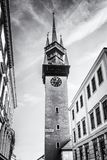 Late gothic Town hall tower, Znojmo, colorless. Late gothic Town hall tower, Znojmo, southern Moravia, Czech republic. Architectural theme. Travel destination royalty free stock photography