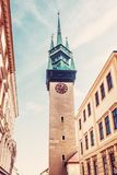 Late gothic Town hall tower, Znojmo, Czech. Late gothic Town hall tower, Znojmo, southern Moravia, Czech republic. Architectural theme. Travel destination. Red stock photo