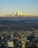Mt. Hood with Portland Oregon royalty free stock image