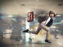 Late man tourist. Tourist runs late to the flight departure Stock Photo