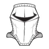Medieval European helmet belonging to the heaume type. Side view. Heraldry element. Black a nd white drawing isolated on Royalty Free Stock Image