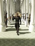 Medieval or Fantasy Spearman walking through the Throneroom Stock Images