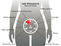 Late menopause. Medical illustration of the symptoms of late menopause royalty free illustration