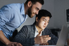 Late Night Discussing in Office royalty free stock photos