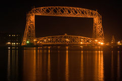 Late night Duluth aerial bridge Stock Image