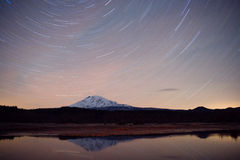 Late Night Long Exposure Stars Sky Mountain Lake Scene Stock Image