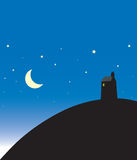 Late Night scene with moon illustration Royalty Free Stock Photos