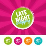 Late Night Shopping color banner and 50%, 60%, 70% & 80% Off Marks. Eps10 Vector illustration Royalty Free Stock Photography