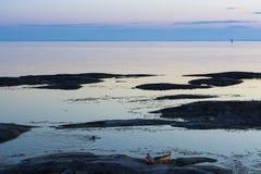 Late night swimming Stockholm archipelago Royalty Free Stock Image