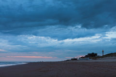 Late night view of the North Sea at Egmond aan Zee Royalty Free Stock Photo