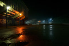 Late at the parking lot. Scary scenery late a a parking lot in Zadar, Croatia stock photography
