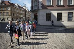 Late-Renaissance style burgher houses which were rebuilt after the Second World War and now form the UNESCO World Heritage Site Ol. WARSAW, POLAND - APRIL 28 Stock Photo