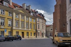 Late-Renaissance style burgher houses which were rebuilt after the Second World War and now form the UNESCO World Heritage Site Ol. WARSAW, POLAND - APRIL 28 Royalty Free Stock Image