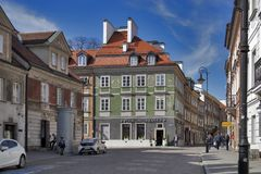 Late-Renaissance style burgher houses which were rebuilt after the Second World War and now form the UNESCO World Heritage Site Ol. WARSAW, POLAND - APRIL 28 Royalty Free Stock Photos
