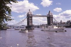 Late 1960`s image of the Tower Bridge in London, England. Image from a color slide Royalty Free Stock Photos