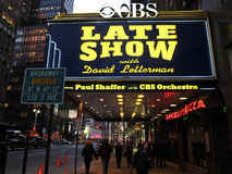 Late show. Ed Sullivan Theater and the sign LATE SHOW with David Letterman, night photo stock photo
