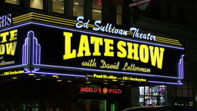Late Show with Dave Letterman neon sign stock footage