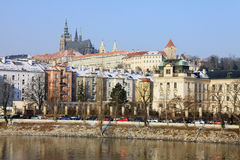 The late Snow in March - Prague gothic Castle Royalty Free Stock Photos