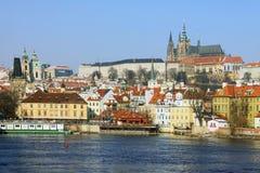 The late Snow - Prague gothic Castle Royalty Free Stock Photos