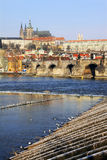 Late Snow in Prague - gothic Castle above Vltava Royalty Free Stock Photo