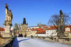 The late Snow in Prague - gothic Prague Castle Royalty Free Stock Photography