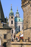 The late Snow in Prague – St. Nicholas Cathedral Stock Image